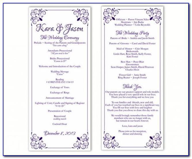 Wedding Program Sample Format Pdf