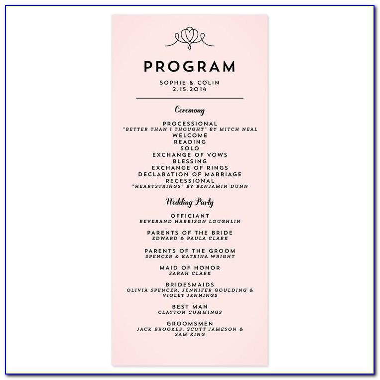 Wedding Program Sample Wording Ideas