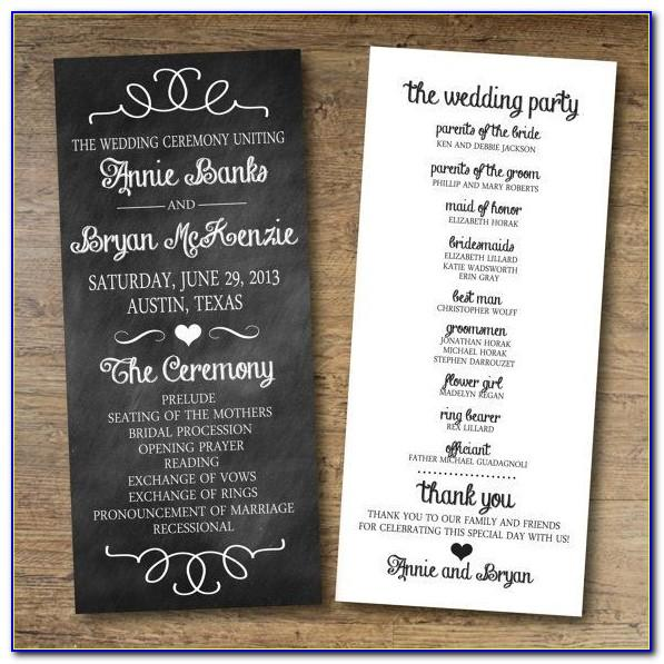 Wedding Program Template Free Online