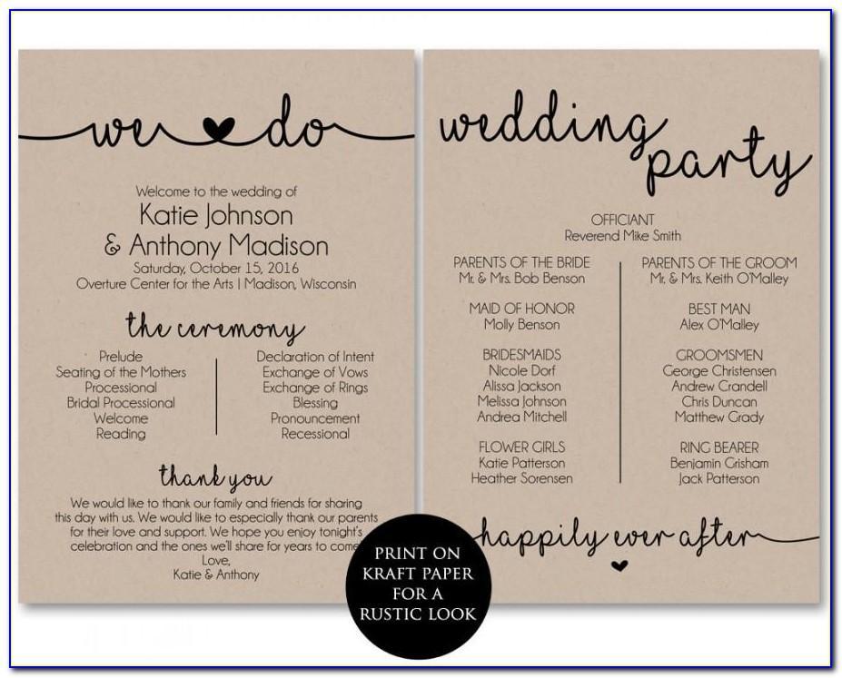 Wedding Program Template Free Printable