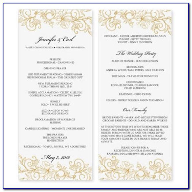 Wedding Program Template Microsoft Word Free