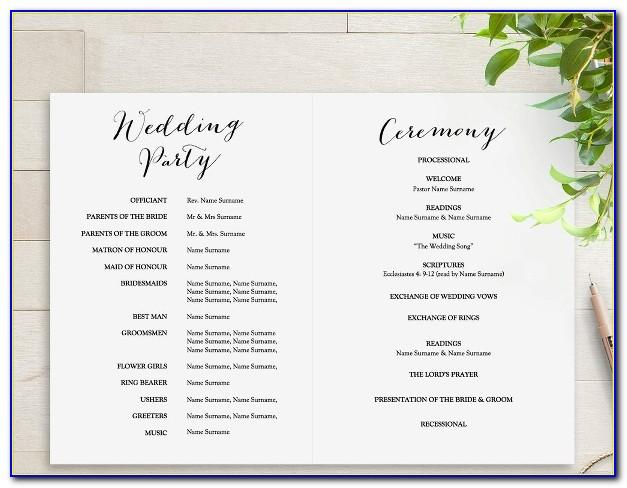 Wedding Program Template Sample