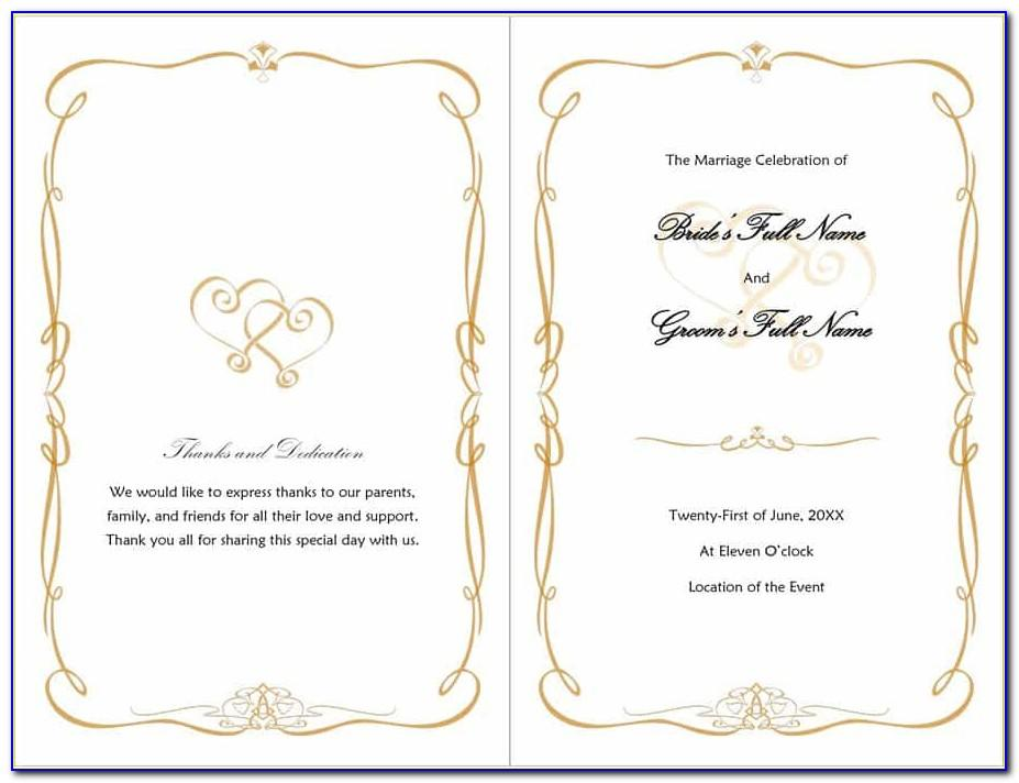 Wedding Program Template Word 2007