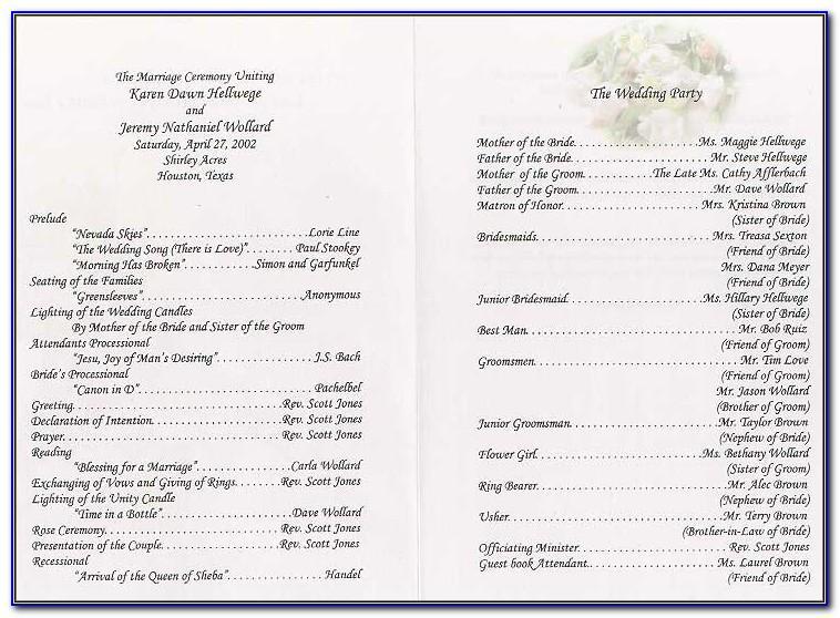 Wedding Program Template Word Search