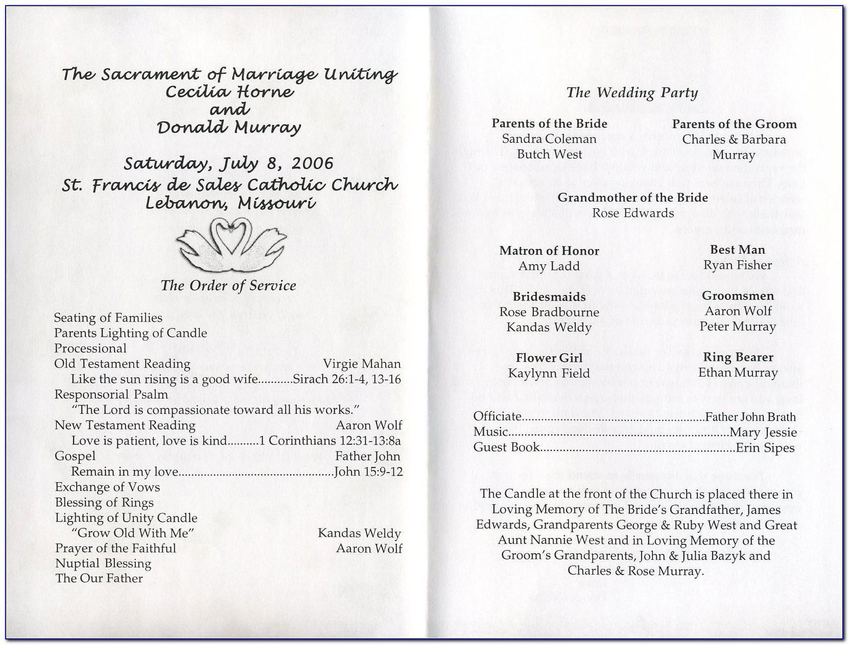 Wedding Program Template Word Tri Fold