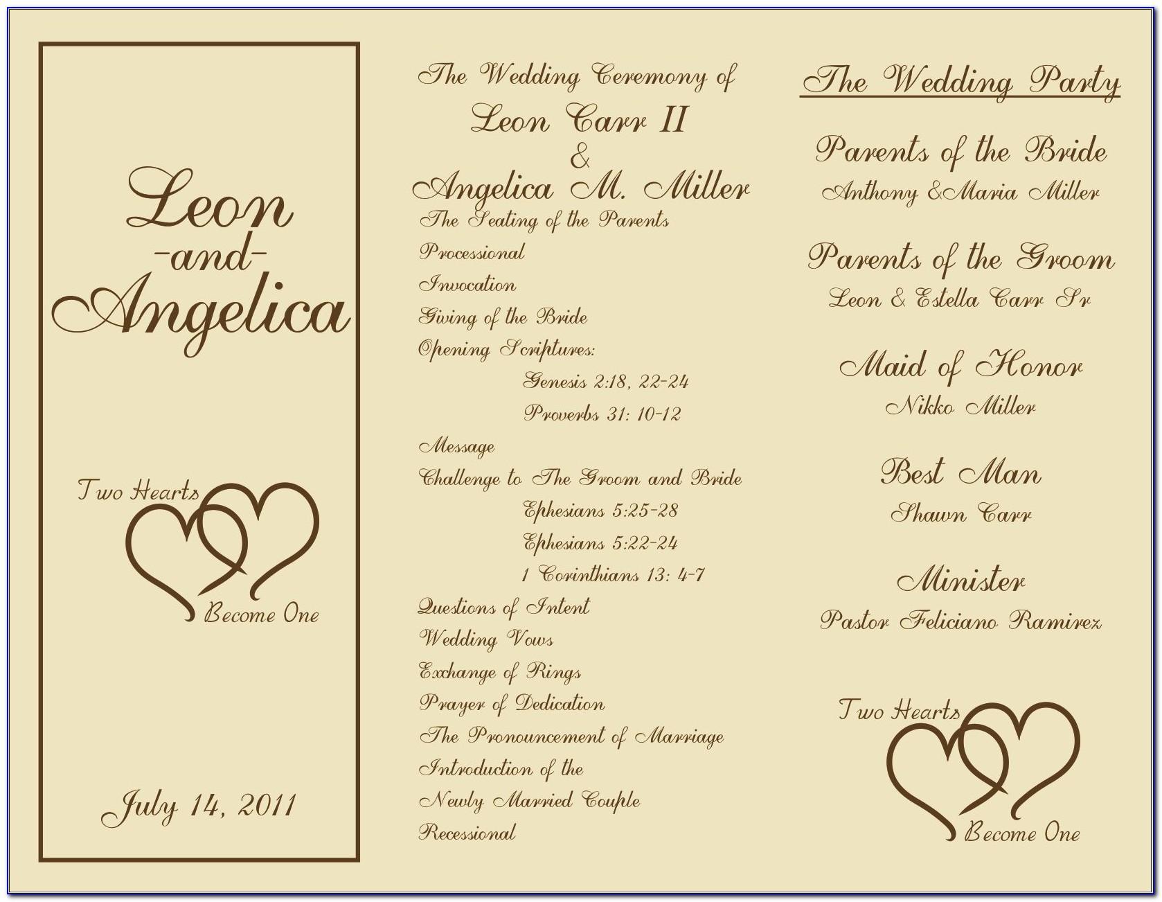 Wedding Program Templates Book Fold