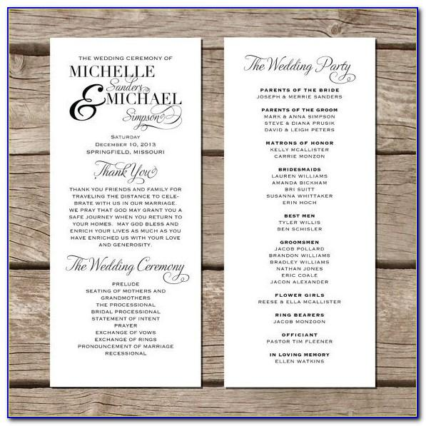 Wedding Program Templates On Microsoft Word
