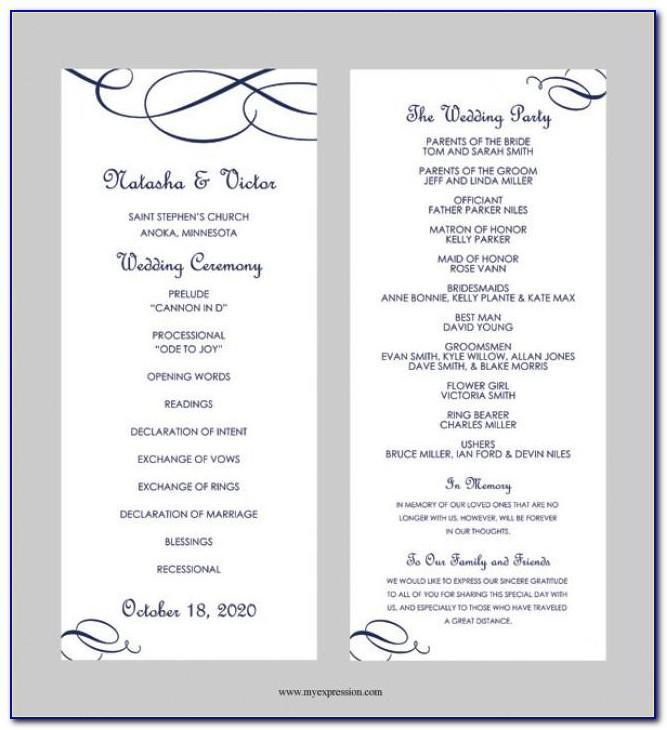 Wedding Program Timeline Template