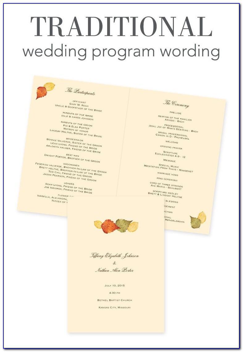 Wedding Program Wording Examples Thank You