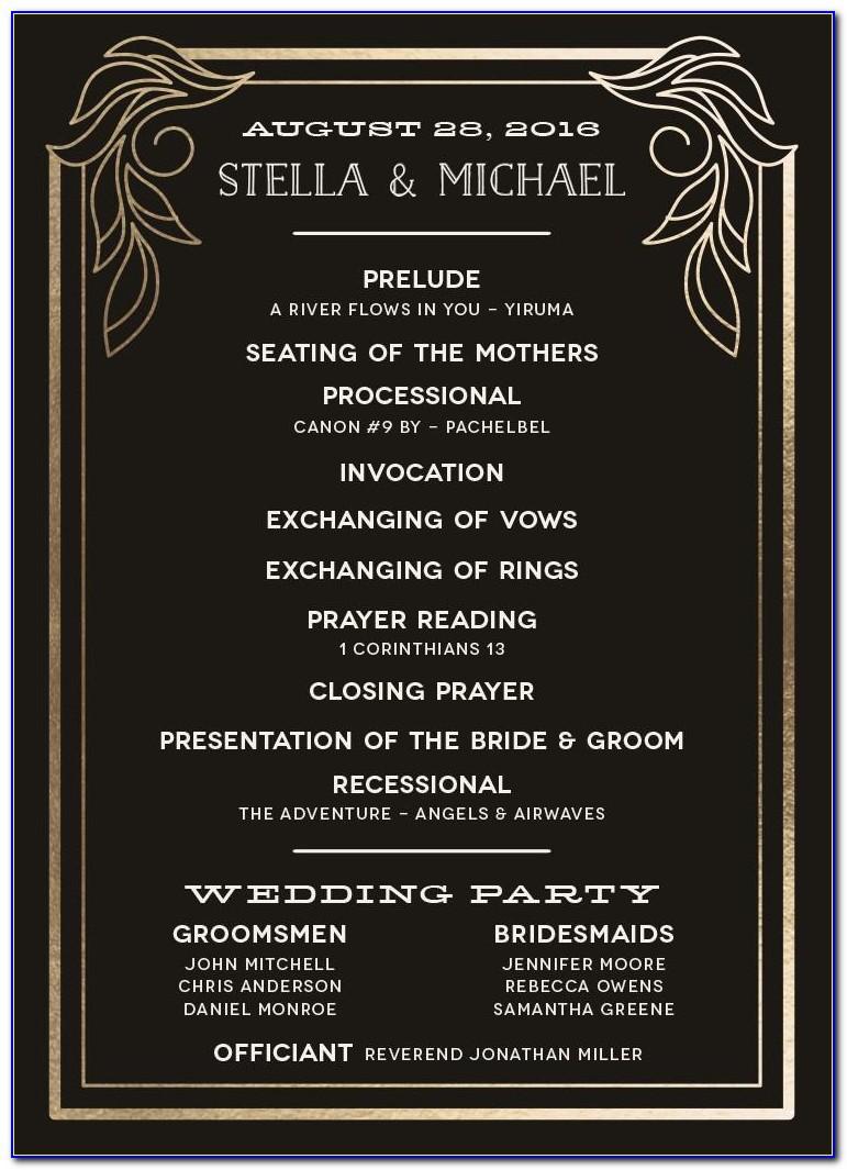 Wedding Program Wording Samples Deceased