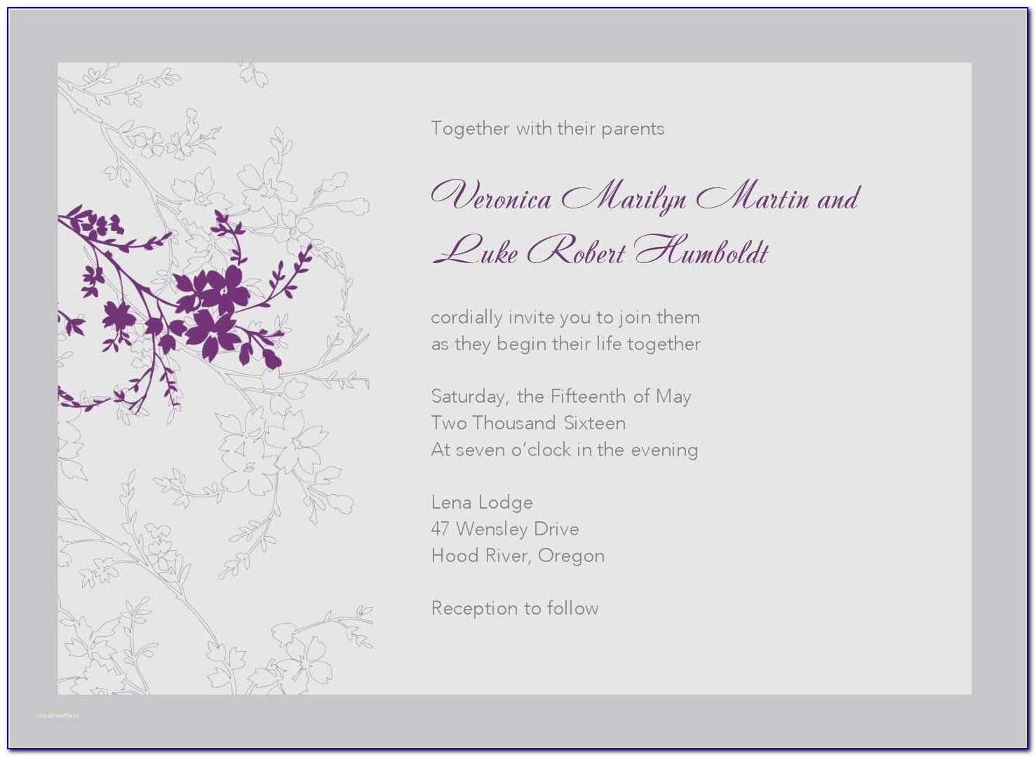Wedding Reception Invitation Templates Online