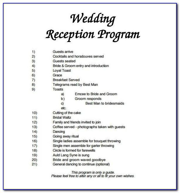 Wedding Reception Program Sample Doc