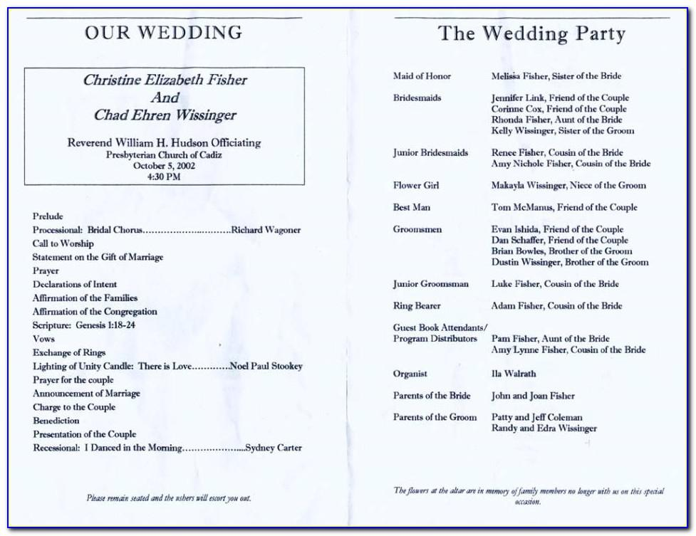 Wedding Reception Program Sample Itinerary