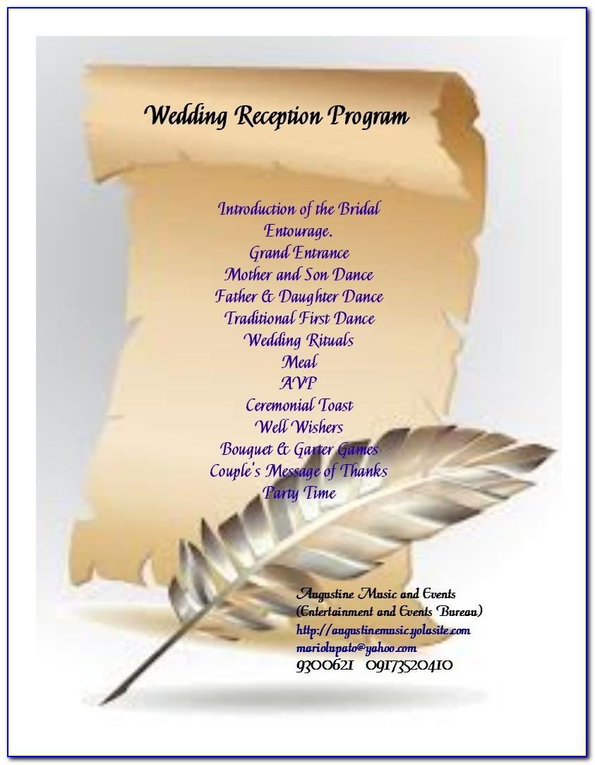 Wedding Reception Program Sample Script