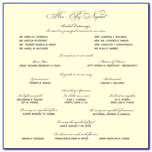Wedding Reception Program Template Free