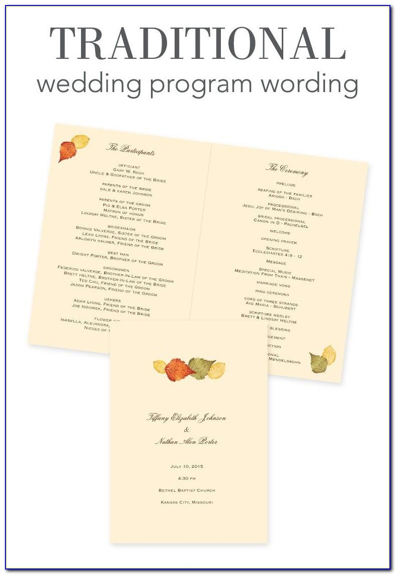 Wedding Reception Program Template Word