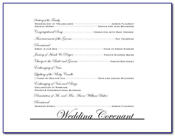 Wedding Reception Program Wording Examples