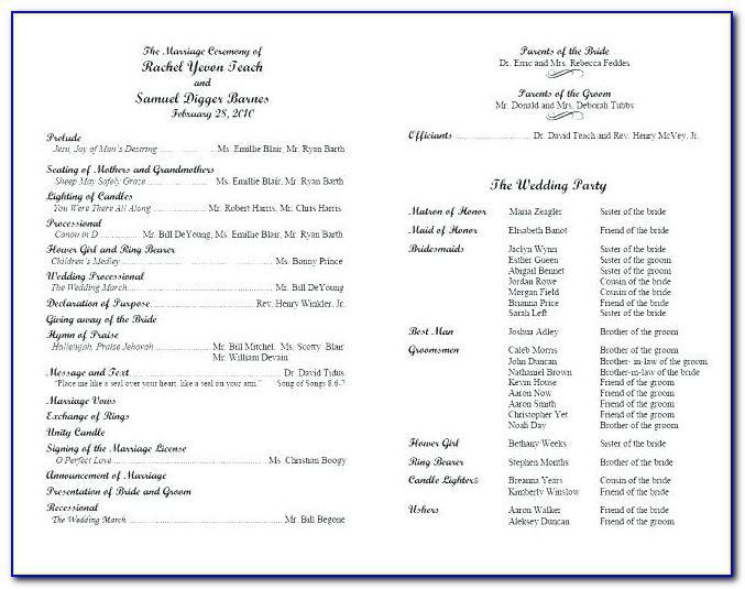 Wedding Reception Programs Samples