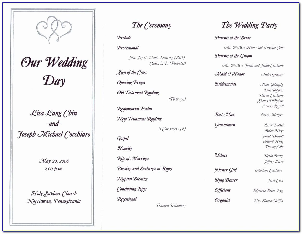 Wedding Reception Programs Templates