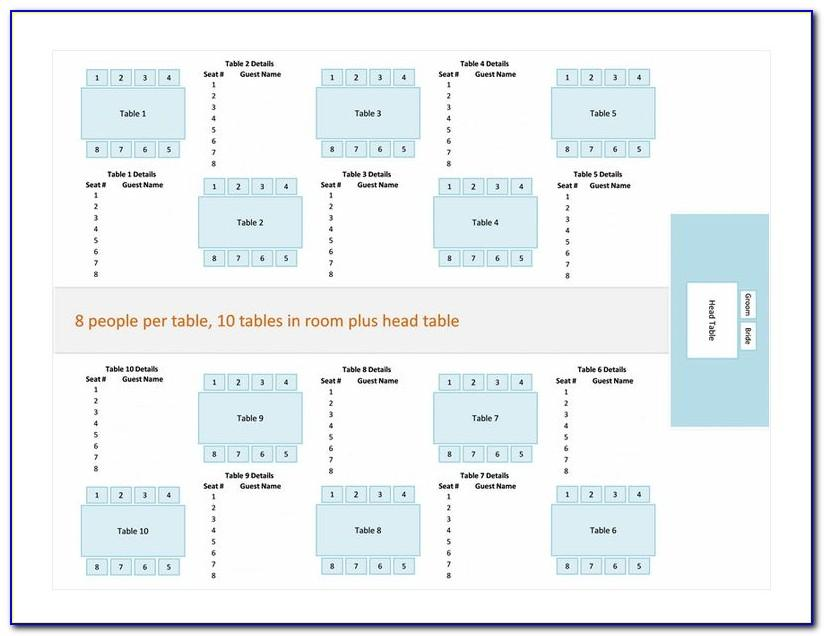 Wedding Reception Seating Chart Template Free