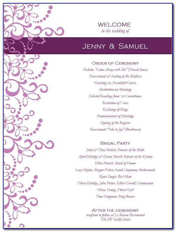 Wedding Reception Template Word