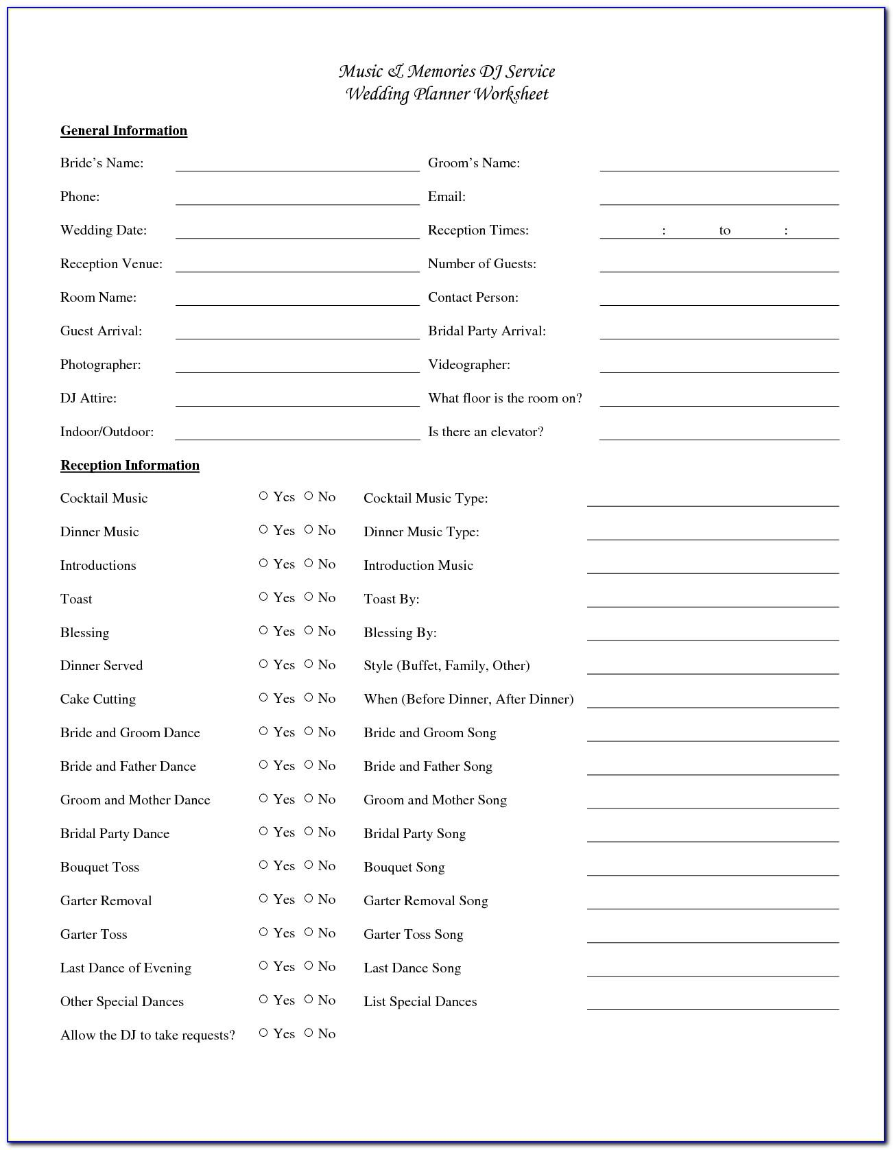 Wedding Reception Timeline Template For Dj
