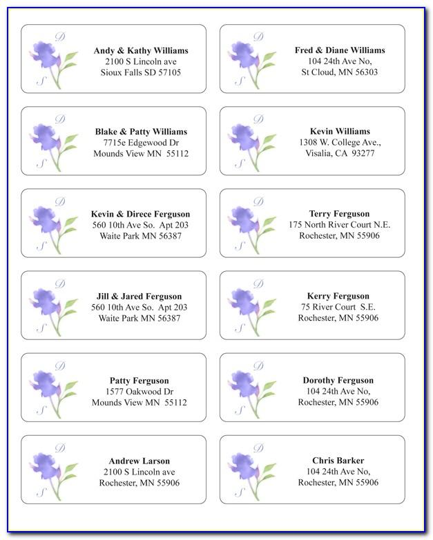 Wedding Return Address Label Templates