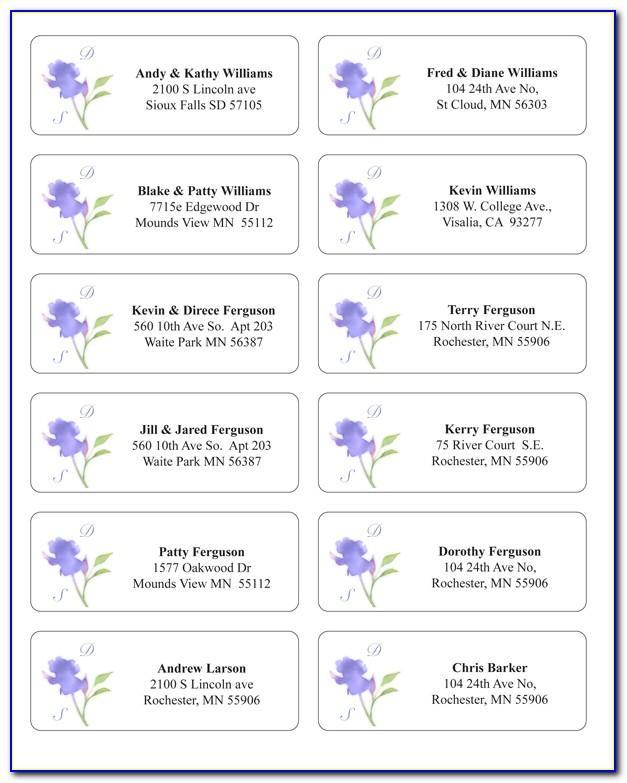Wedding Return Address Label Templates