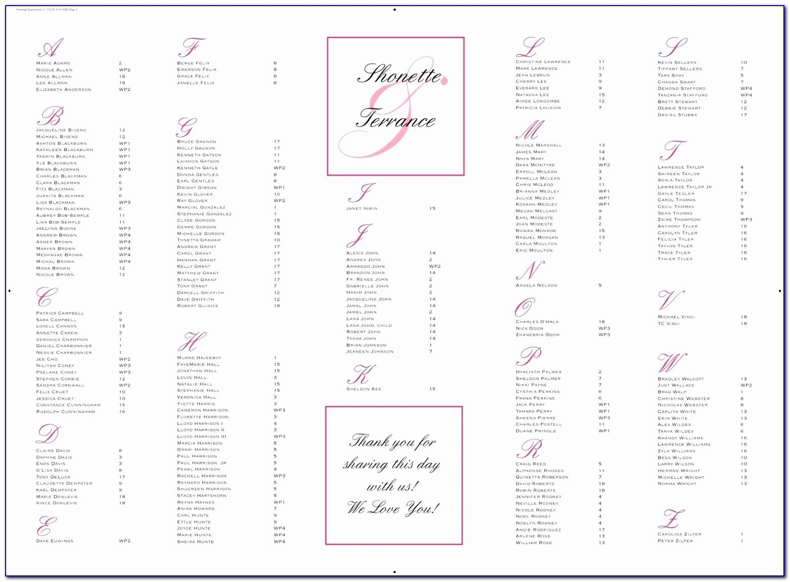 Wedding Seating Plan Template Excel