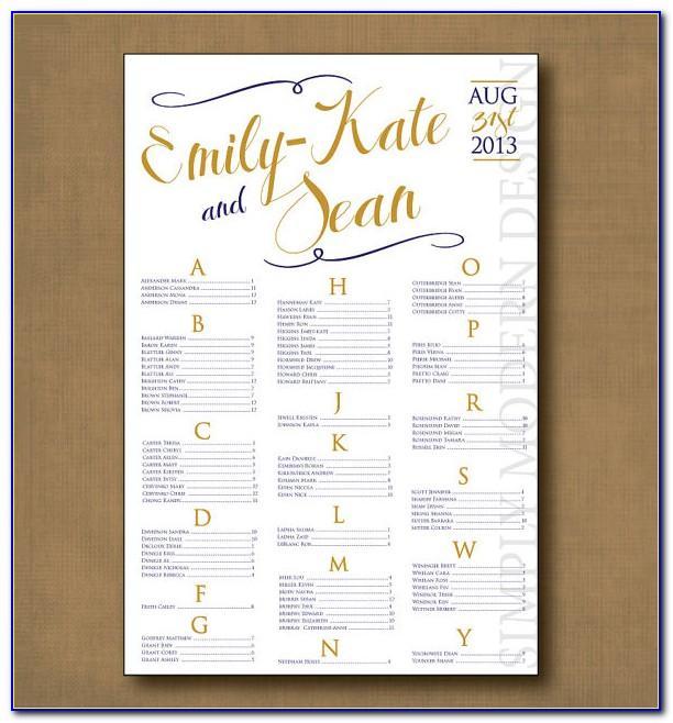 Wedding Table Seating Chart Printable