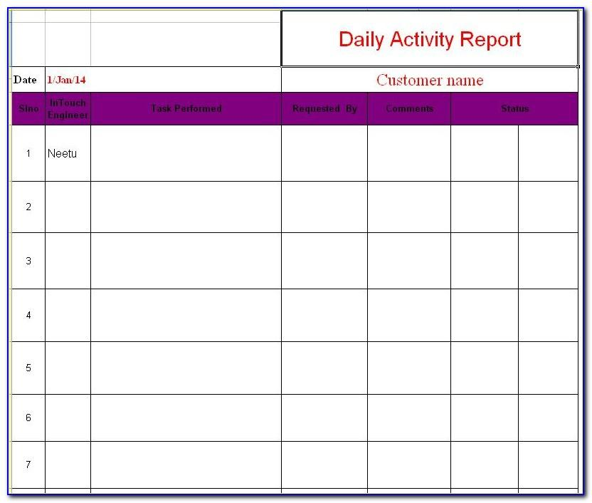Weekly Activity Report Format Excel