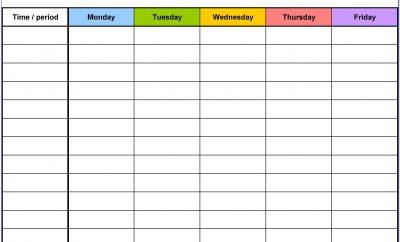 Weekly Calendar Schedule Template Free