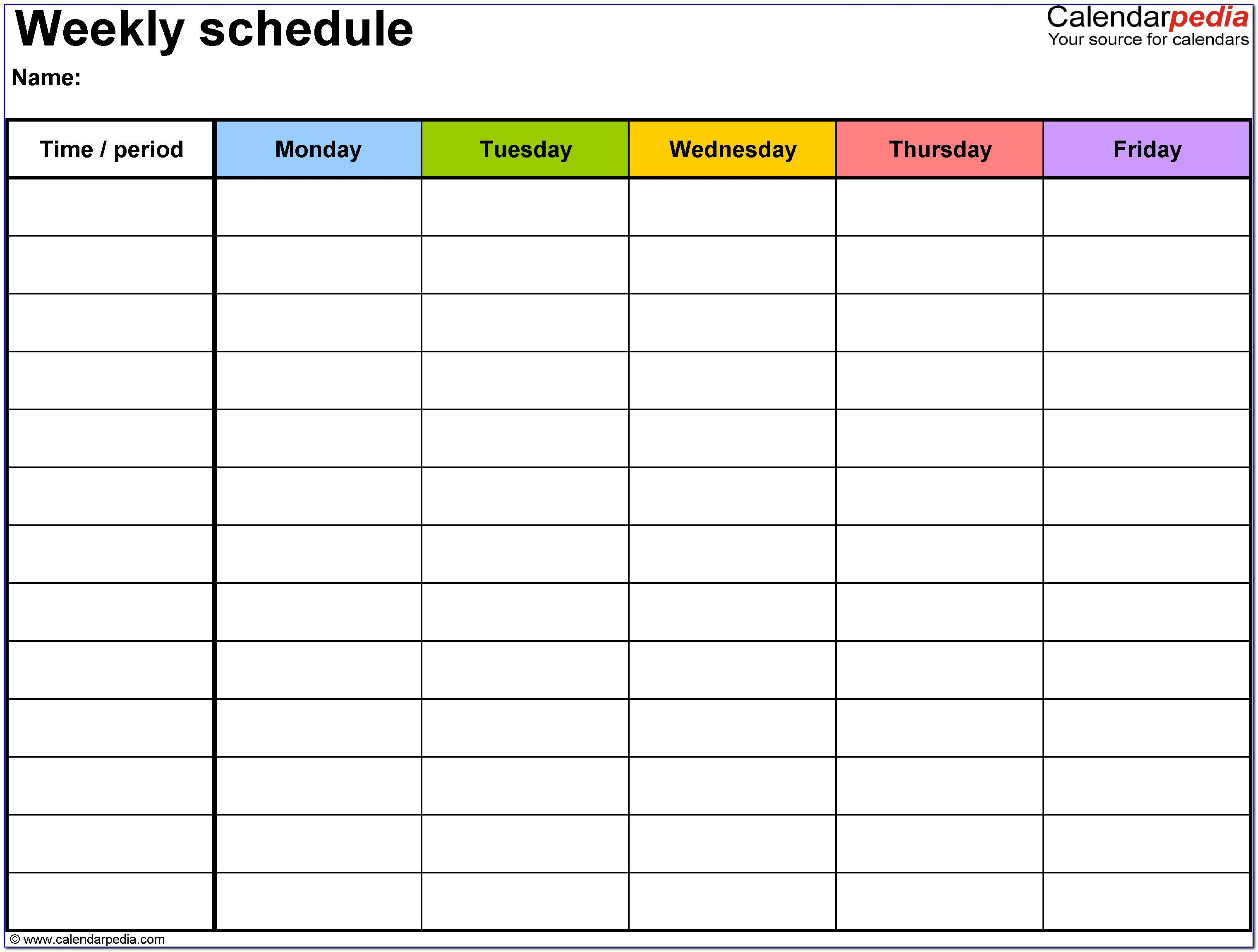 Weekly Calendar Schedule Template Free