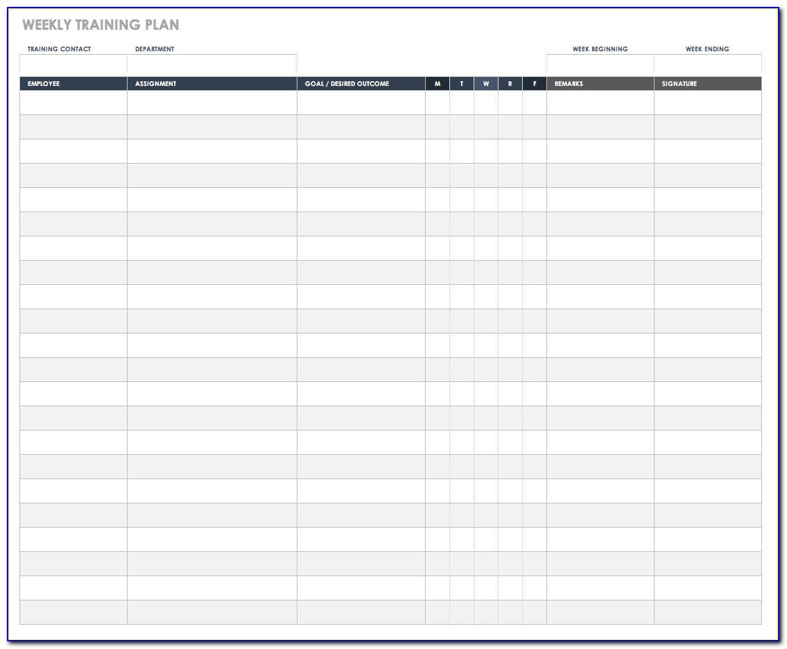 Weekly Employee Training Schedule Template