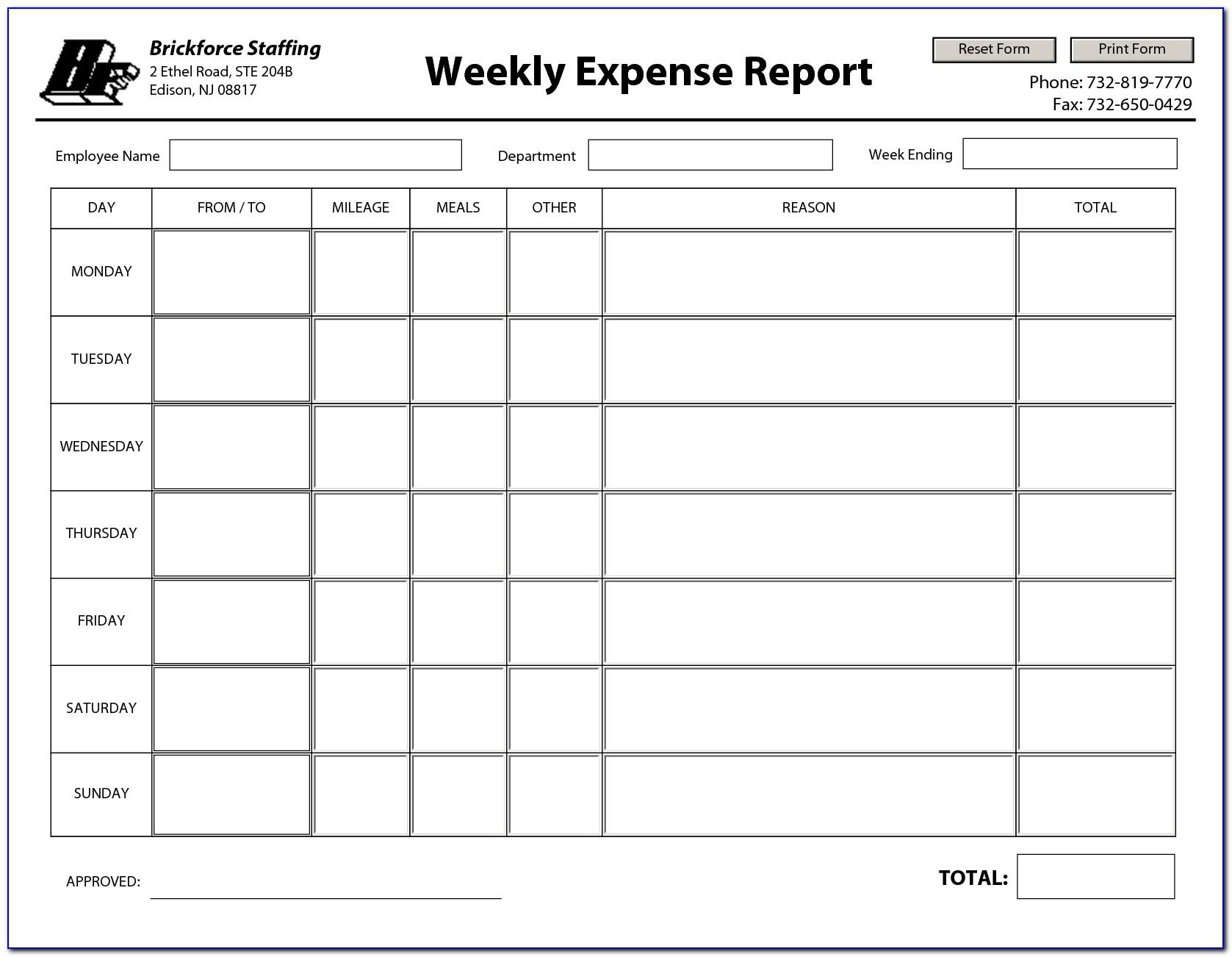 Weekly Expense Report Template Excel