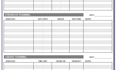 Weekly Fitness Chart Template