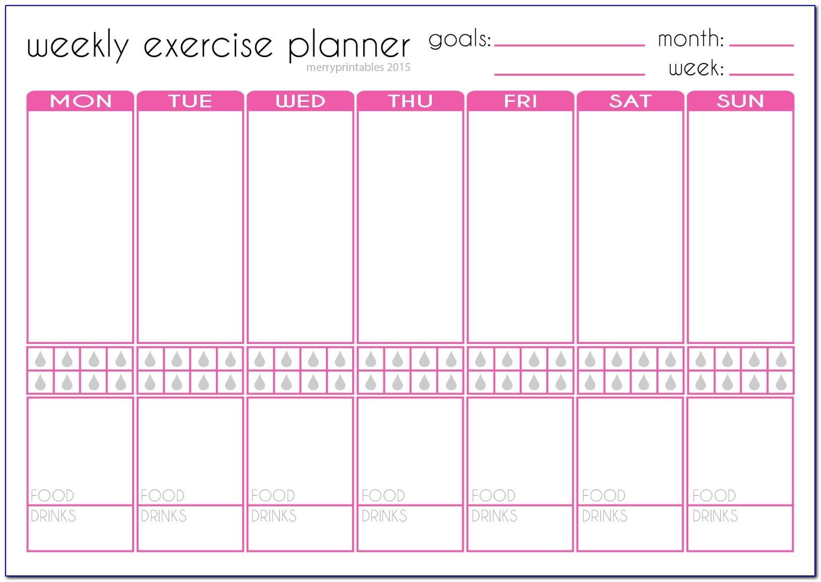 Weekly Fitness Planner Template