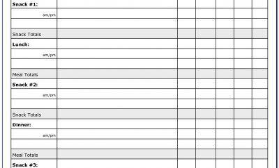Weekly Food Exercise Log Template