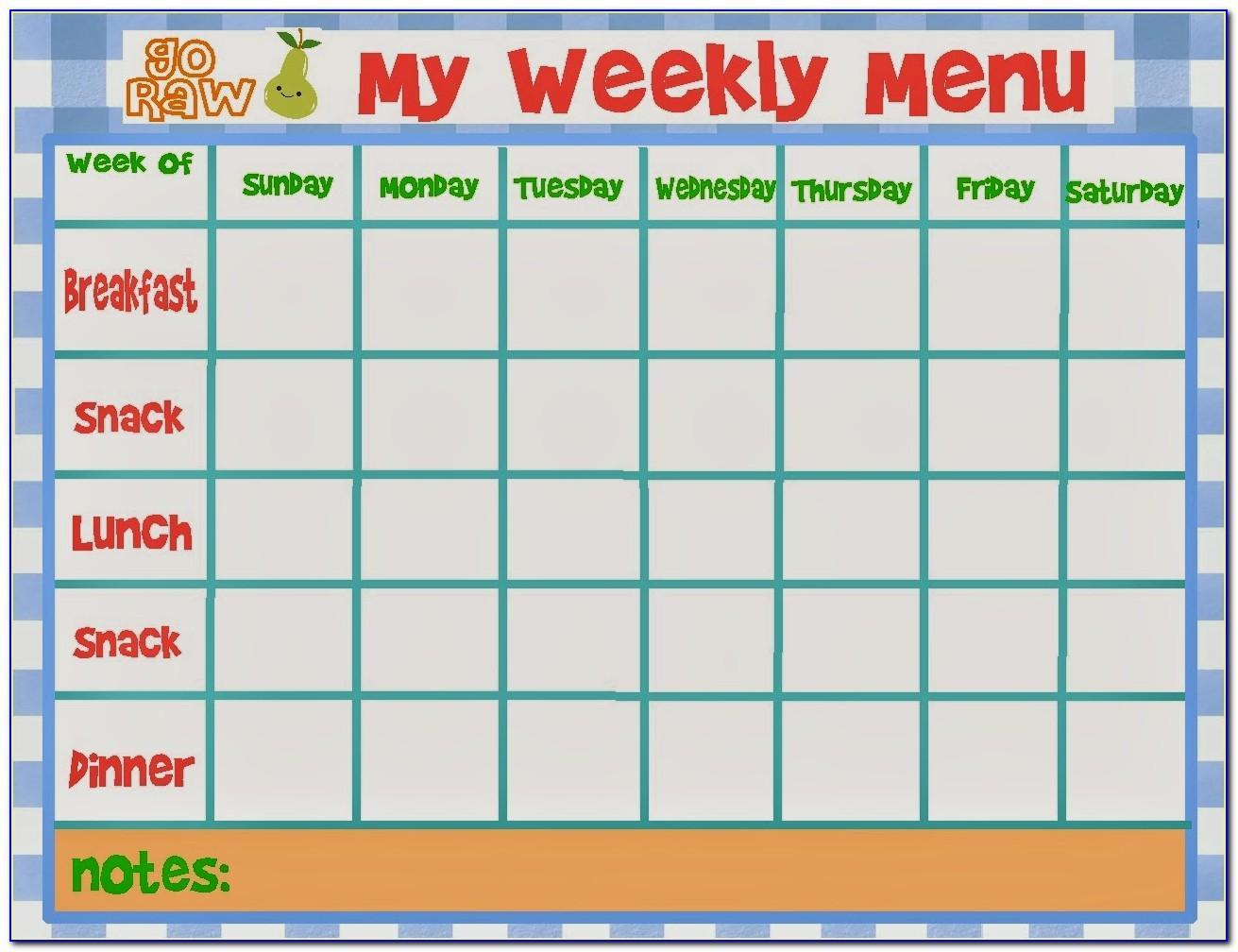 Weekly Food Menu Templates