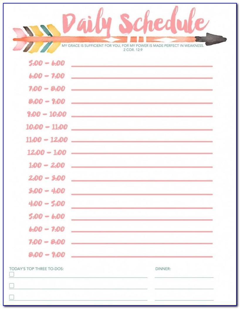Weekly Hourly Schedule Template Printable