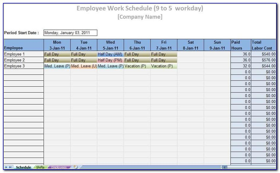 Weekly Labor Schedule Template