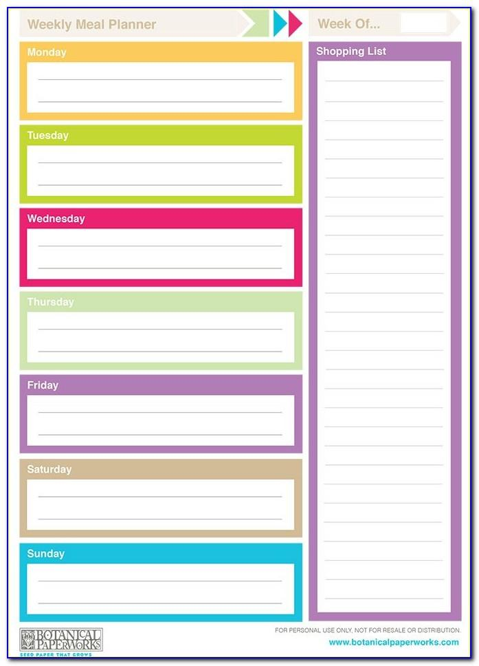 Weekly Lesson Plan Template Free Printable