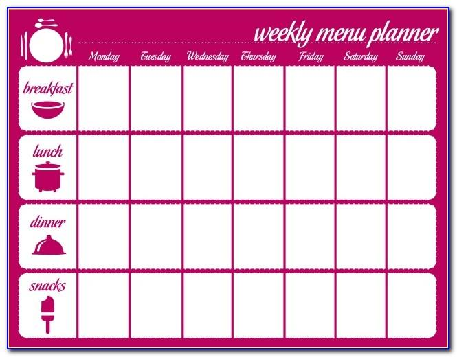 Weekly Lunch And Dinner Menu Template