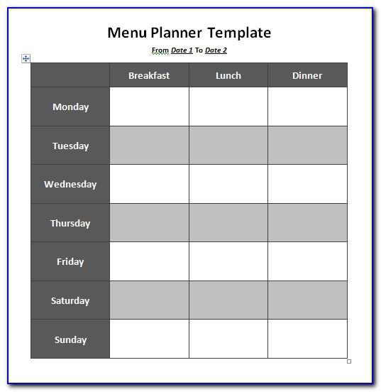 Weekly Lunch Menu Template Word