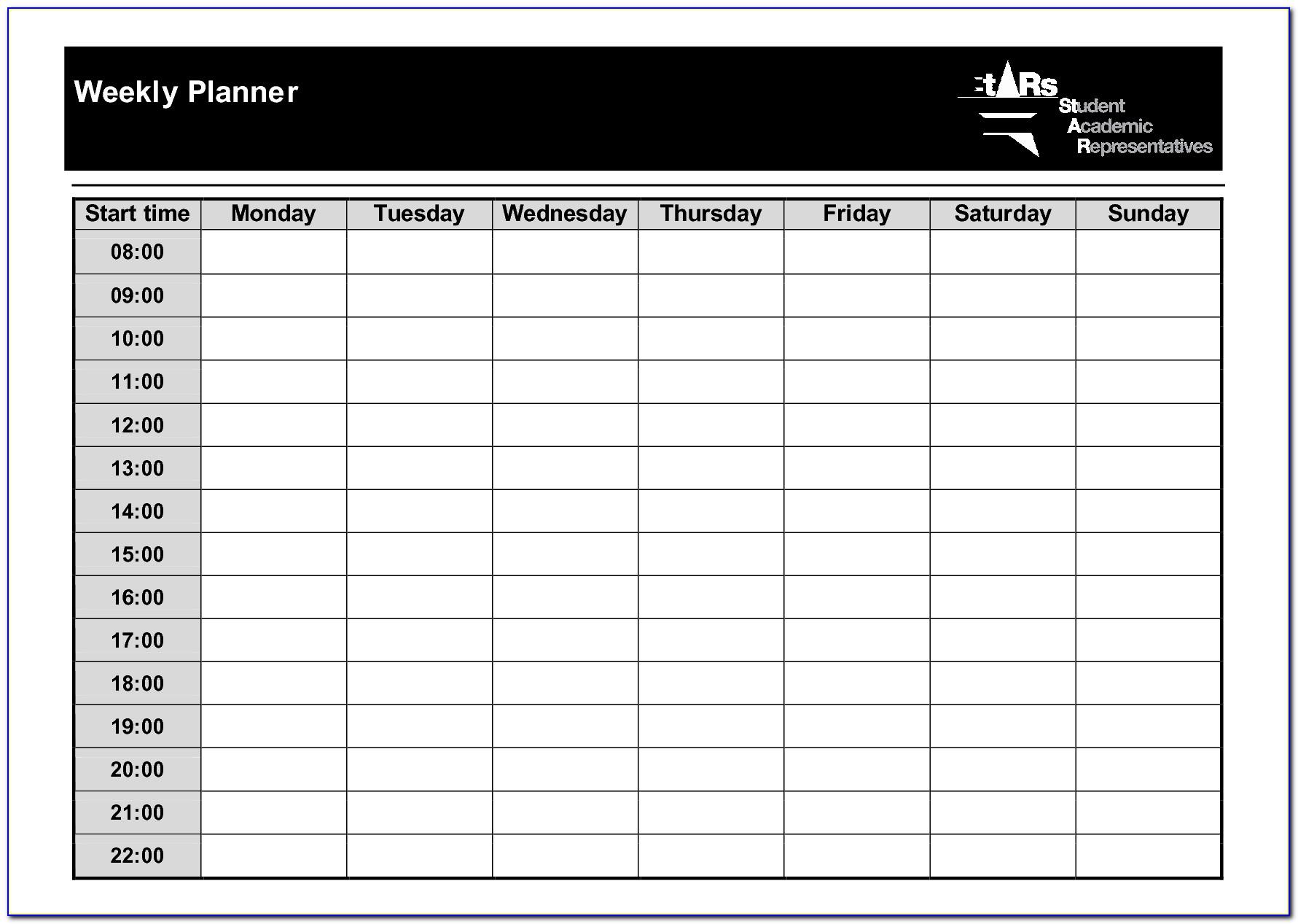 Weekly Meal Planner Template Free Printable
