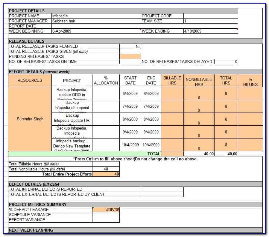 Weekly Project Report Format In Excel