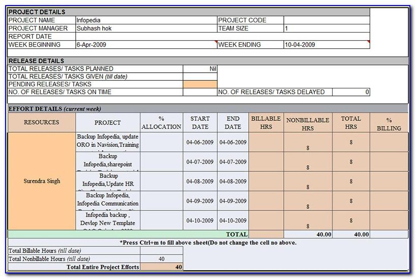 Weekly Project Report Template Excel