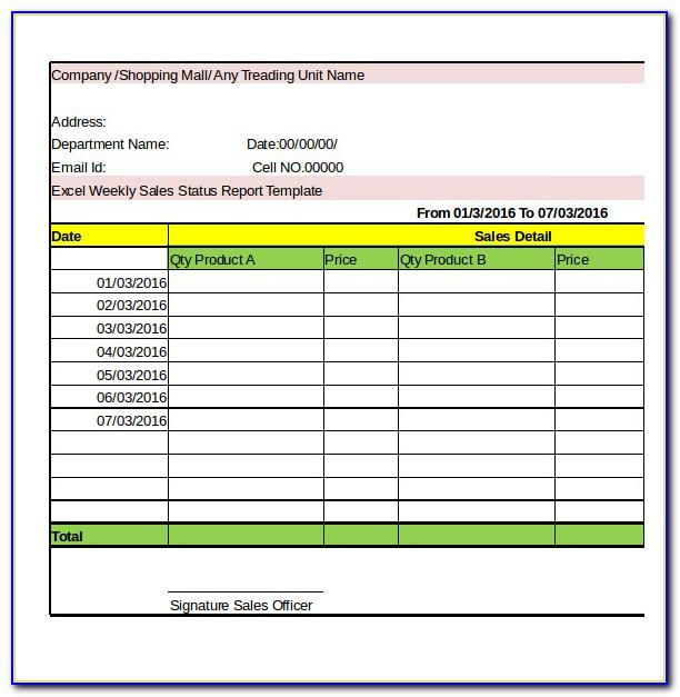 Weekly Report Template Excel Free