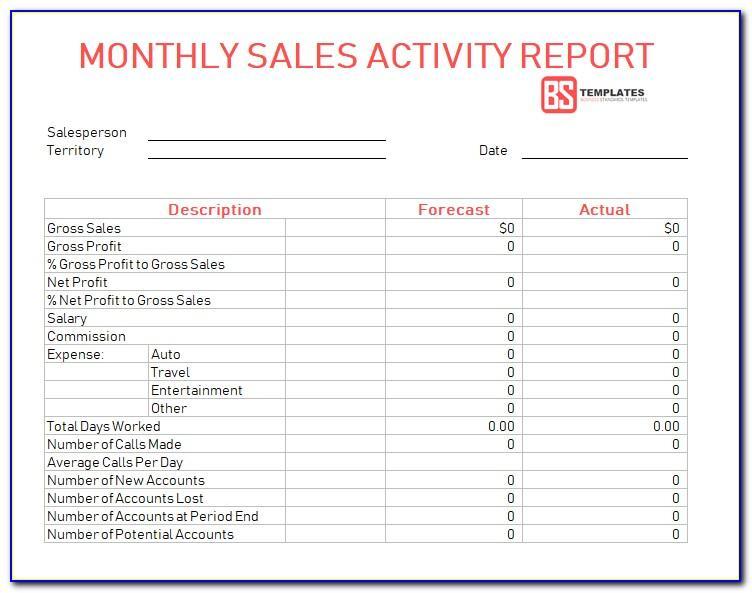 Weekly Sales Activity Report Format In Excel