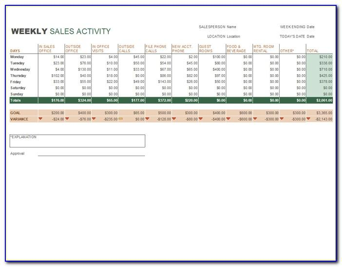 Weekly Sales Activity Report Format